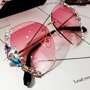 2020 Vintage Fashion Rimless Crystal Sunglasses 1688 Pink