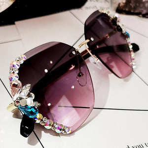 2020 Vintage Fashion Rimless Crystal Sunglasses 1688 Purple