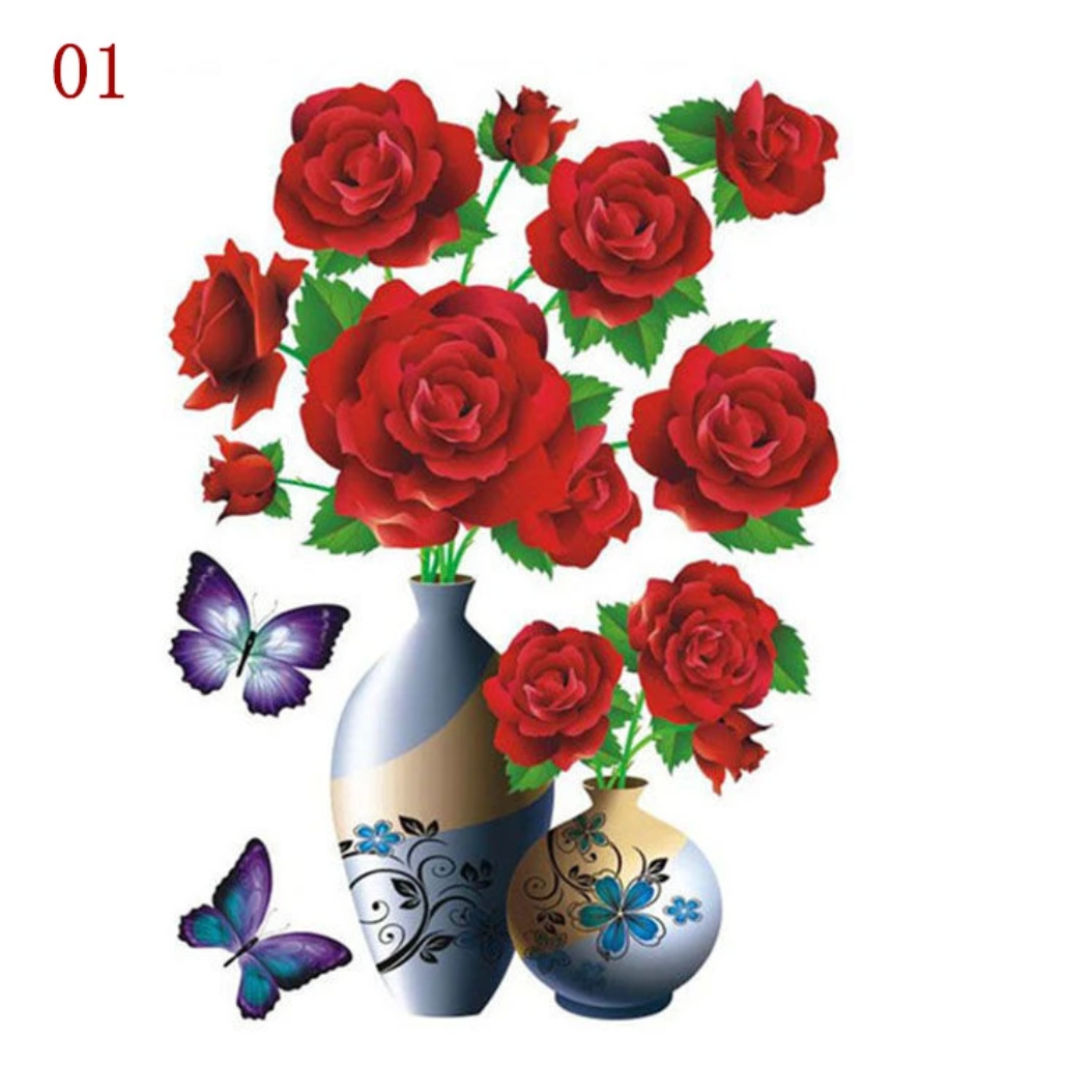 3D Waterproof Rose Wall Sticker 1688 1 Red Rose (2 PCS)