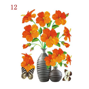 3D Waterproof Rose Wall Sticker 1688 12 Orange Flower (2 PCS)