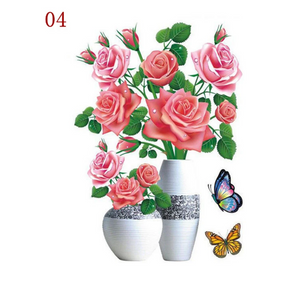 3D Waterproof Rose Wall Sticker 1688 4 Pink Rose (2 PCS)