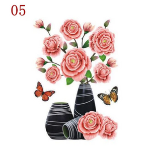 3D Waterproof Rose Wall Sticker 1688 5 Peony (2 PCS)