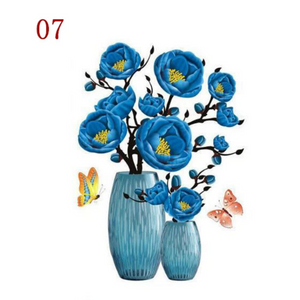 3D Waterproof Rose Wall Sticker 1688 7 Blue Peony (2 PCS)