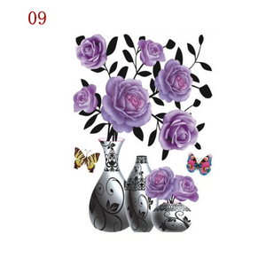 3D Waterproof Rose Wall Sticker 1688 9 Purple Rose (2 PCS)