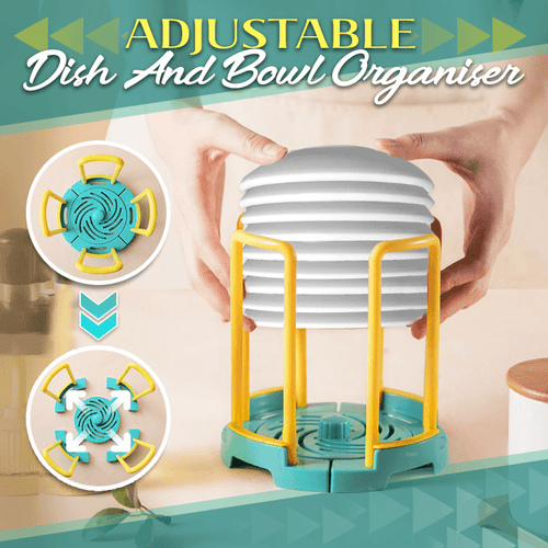 Adjustable Dish And Bowl Organiser 1688 Blue-Yellow 1PC