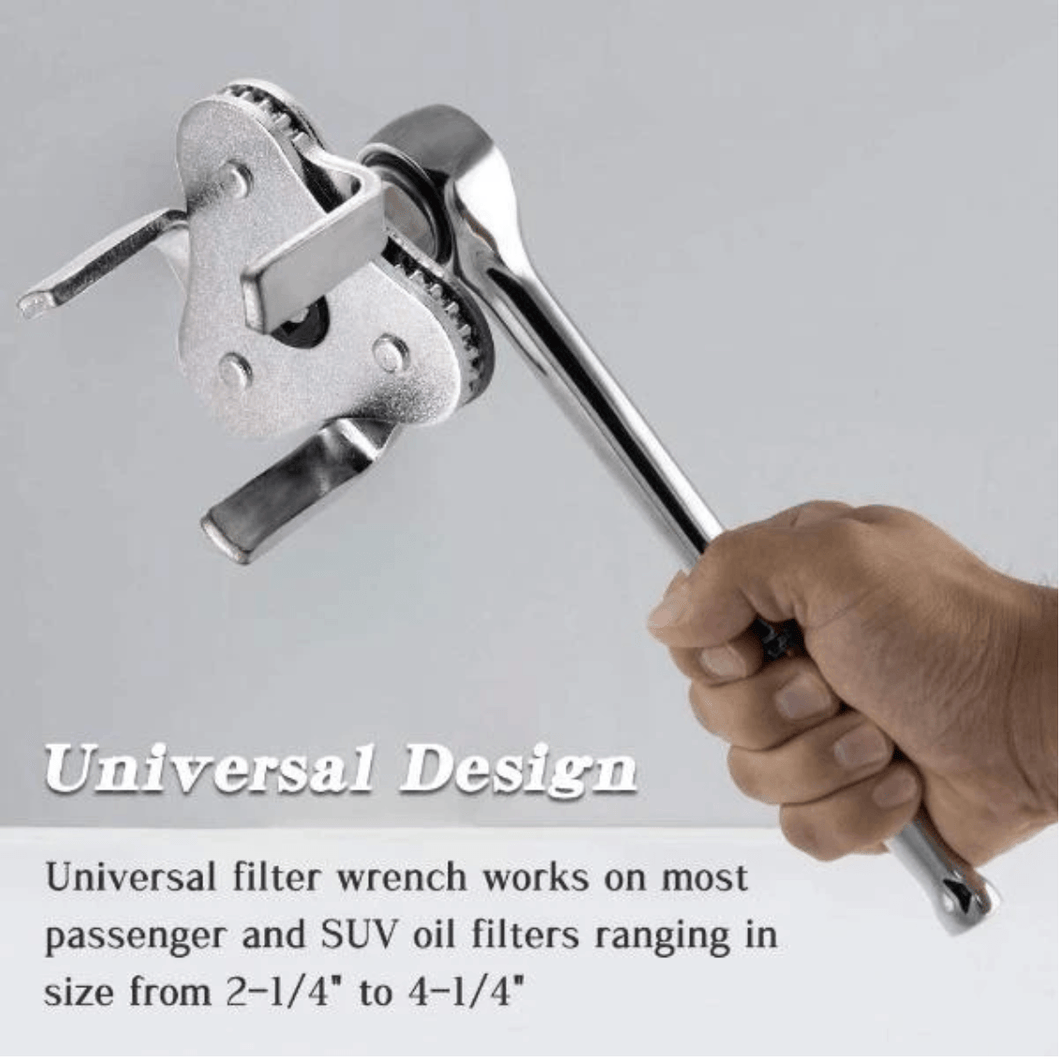 Adjustable Oil Filter Removal Wrench Tool - CHANGE OIL LIKE A PRO 1688 Silver