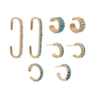 Baroque Rhinestones Ear Accessory Set(8pcs) 1688