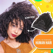 Load image into Gallery viewer, Brazilian Kinky Curly Hair Extensions Clip 1688