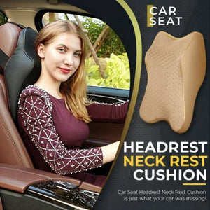 Car Seat Headrest Neck Rest Cushion 1668 S Beige 1pc