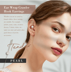 Ear Wrap Crawler Hook Earrings 1688 PEARL