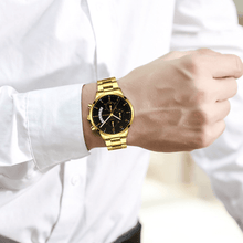 Load image into Gallery viewer, Gold Luminous Waterproof Steel Band Men Watch 1688