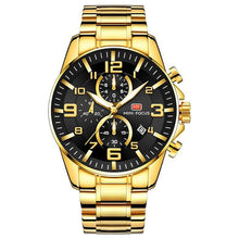 Load image into Gallery viewer, Gold Luminous Waterproof Steel Band Men Watch 1688 Luxury Black Surface