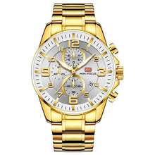 Load image into Gallery viewer, Gold Luminous Waterproof Steel Band Men Watch 1688 Luxury White Surface