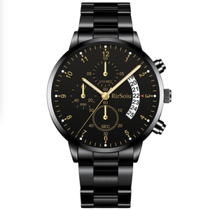 Gold Luminous Waterproof Steel Band Men Watch 1688 Standard Black With Black Surface