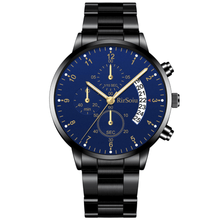 Load image into Gallery viewer, Gold Luminous Waterproof Steel Band Men Watch 1688 Standard Black With Blue Surface