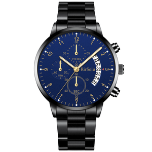 Gold Luminous Waterproof Steel Band Men Watch 1688 Standard Black With Blue Surface