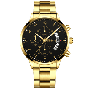Gold Luminous Waterproof Steel Band Men Watch 1688 Standard Gold With Black Surface