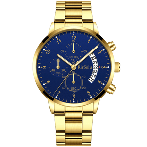Gold Luminous Waterproof Steel Band Men Watch 1688 Standard Gold With Blue Surface