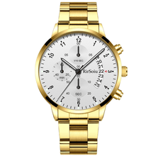 Load image into Gallery viewer, Gold Luminous Waterproof Steel Band Men Watch 1688 Standard Gold With White Surface