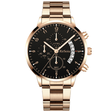 Load image into Gallery viewer, Gold Luminous Waterproof Steel Band Men Watch 1688 Standard Rose Gold With Black Surface