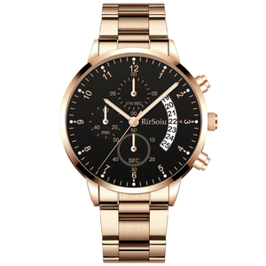 Gold Luminous Waterproof Steel Band Men Watch 1688 Standard Rose Gold With Black Surface