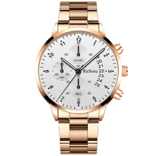 Load image into Gallery viewer, Gold Luminous Waterproof Steel Band Men Watch 1688 Standard Rose Gold With White Surface