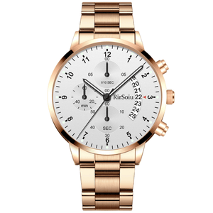 Gold Luminous Waterproof Steel Band Men Watch 1688 Standard Rose Gold With White Surface