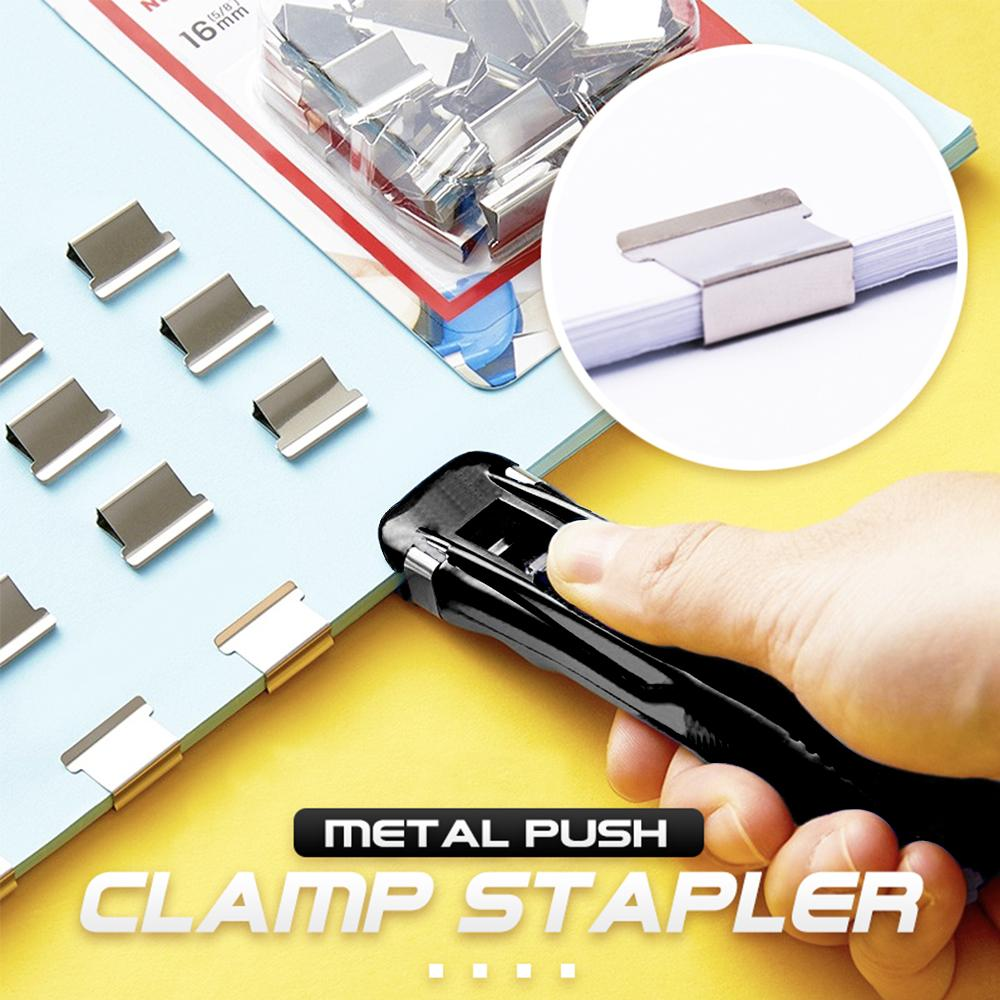 Metal Push Clamp Stapler 1688 Black+8PCS Clamps