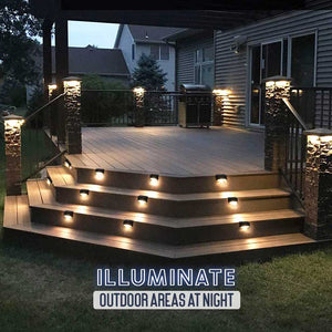 Outdoor Solar Waterproof Railing LED Lights - Set For 4 1688