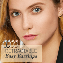 Load image into Gallery viewer, Retractable Easy Earrings 1688 Black 1 Pair