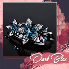 Load image into Gallery viewer, Rhinestone Brilliant Double Flower Hair Clips 2PCS 1688 Dark Blue