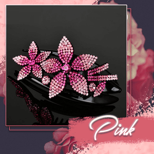 Rhinestone Brilliant Double Flower Hair Clips 2PCS 1688 Pink