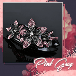 Rhinestone Brilliant Double Flower Hair Clips 2PCS 1688 Pink-Gray