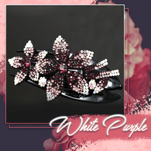 Load image into Gallery viewer, Rhinestone Brilliant Double Flower Hair Clips 2PCS 1688 White-Purple