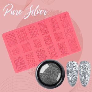 Sculpted Nail Art Mold Set 1688 Pure Silver