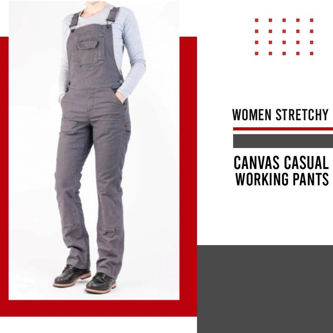 Women Stretchy Canvas Casual Working Pants 1688 XS Gray