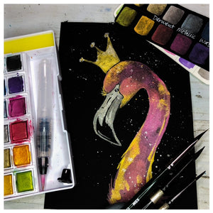 Metallic Watercolor Workshop- Flamingos, Hummingbird, Floral Bouquet & Crowned Flamingo)