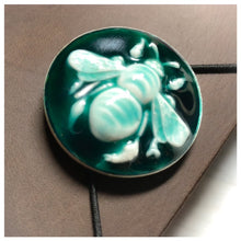 Load image into Gallery viewer, Leather Midori Journal with Resin Bezel Button - Bee
