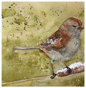 Bird on Cattail - Watercolor by Lexi Grenzer