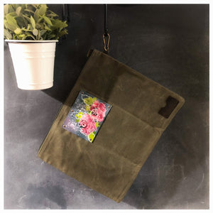 Waxed Canvas & Leather Tote - Original Flower Painting on Leather