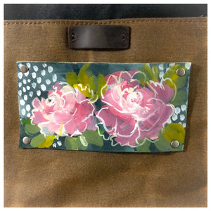 Waxed Canvas & Leather Shoulder Bag - Original Flower Painting on Leather