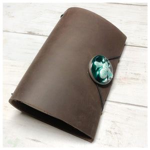 Leather Midori Journal with Resin Bezel Button - Bee