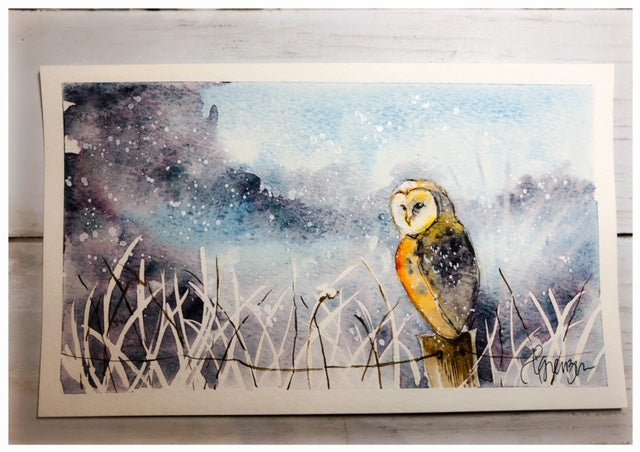 Owl and Winter Landscape - Original Watercolor by Lexi Grenzer