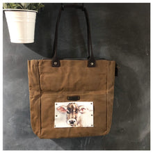 Load image into Gallery viewer, Waxed Canvas & Leather Shoulder Bag - Leather Print of Babe the Cowther