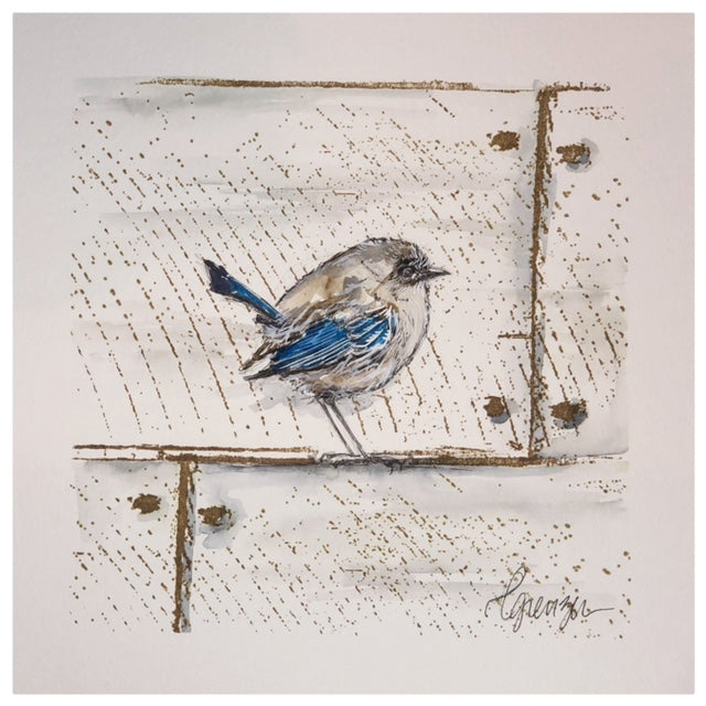 Wren on the Barn - Watercolor, Acrylic & Charcoal by Lexi Grenzer