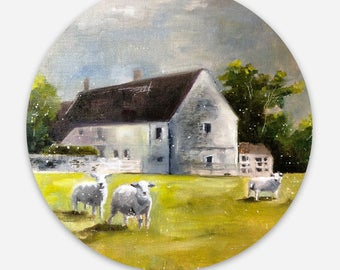 Euro Farmhouse with Sheep Die-Cut Label Sticker