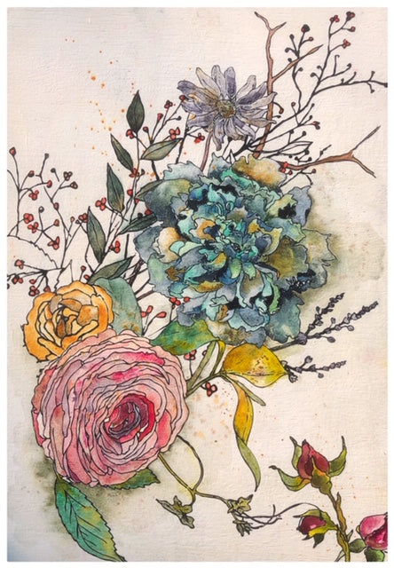 Watercolor and Image Transfer Bouquet #1 by Lexi Grenzer