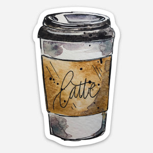 Latte Go Cup Vinyl Die-Cut Sticker