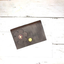 Load image into Gallery viewer, Leather Daisy Wallet (brown and red)