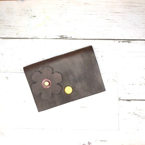 Leather Daisy Wallet (brown and red)
